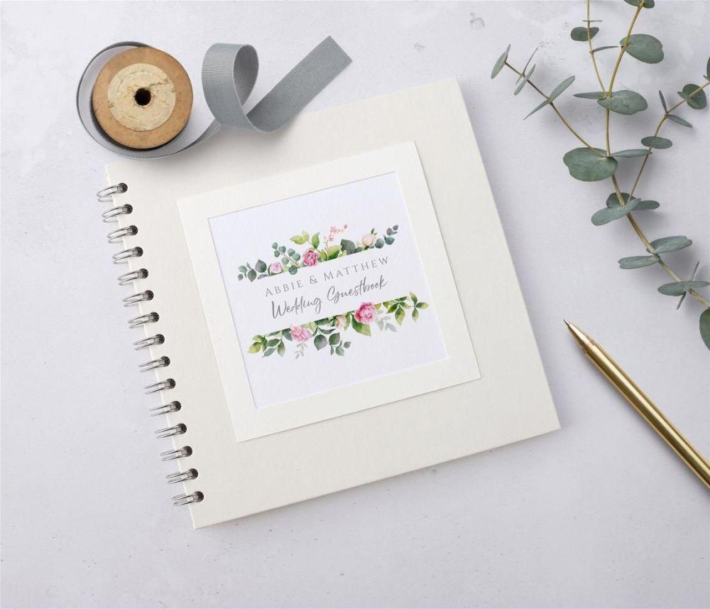 Botanical Pink Rose Wedding Guest Book