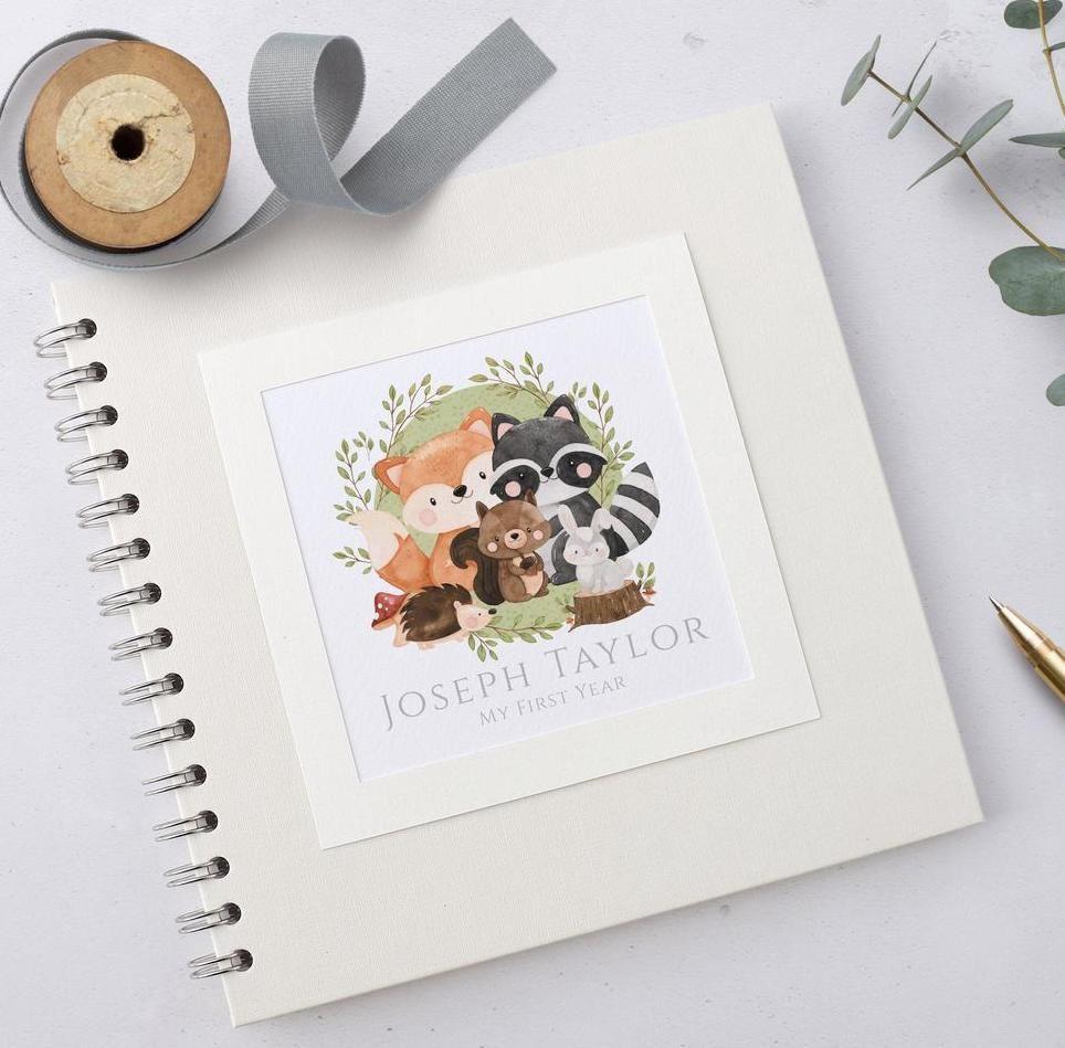 Woodland Animals Baby Scrapbook