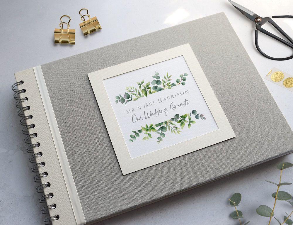 Greenery Grey Wedding Photo Album