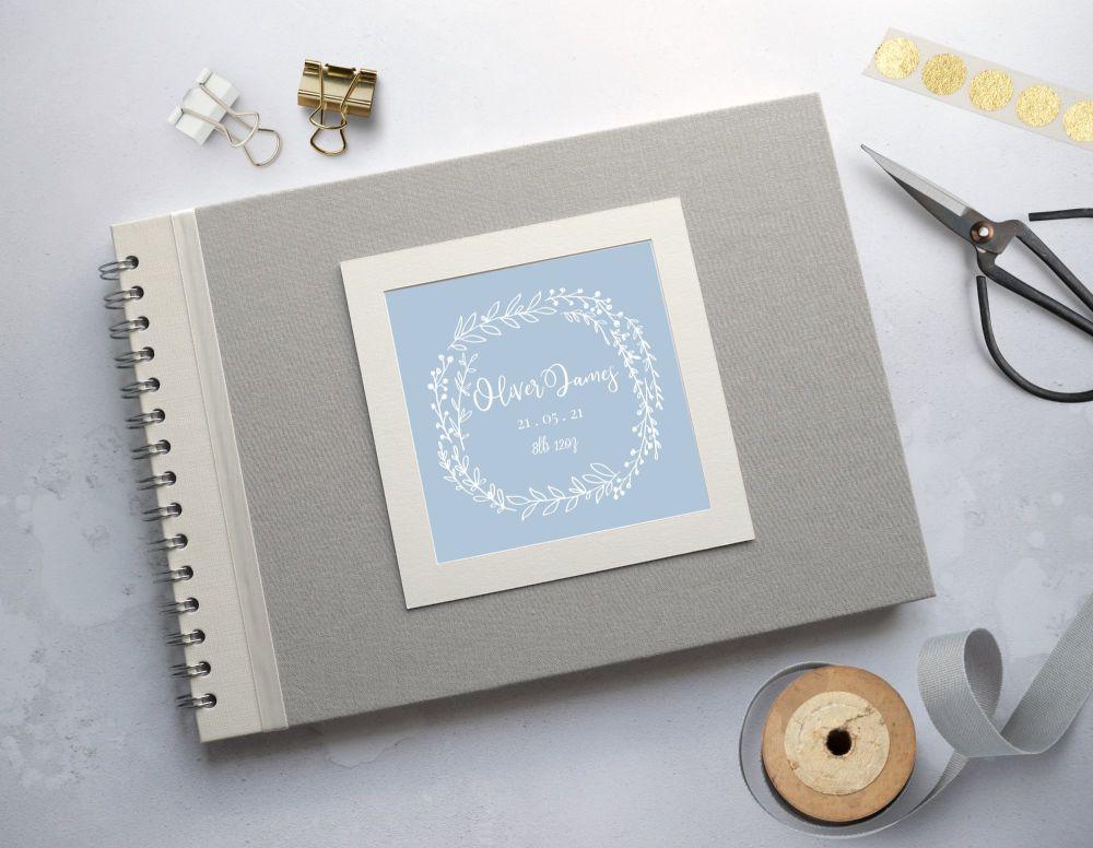 Blue Laurel Baby Photo Album - Grey Covers