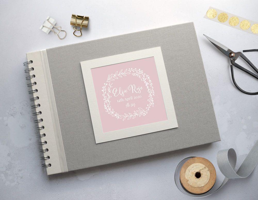 Pink Laurel Baby Photo Album - Grey Covers