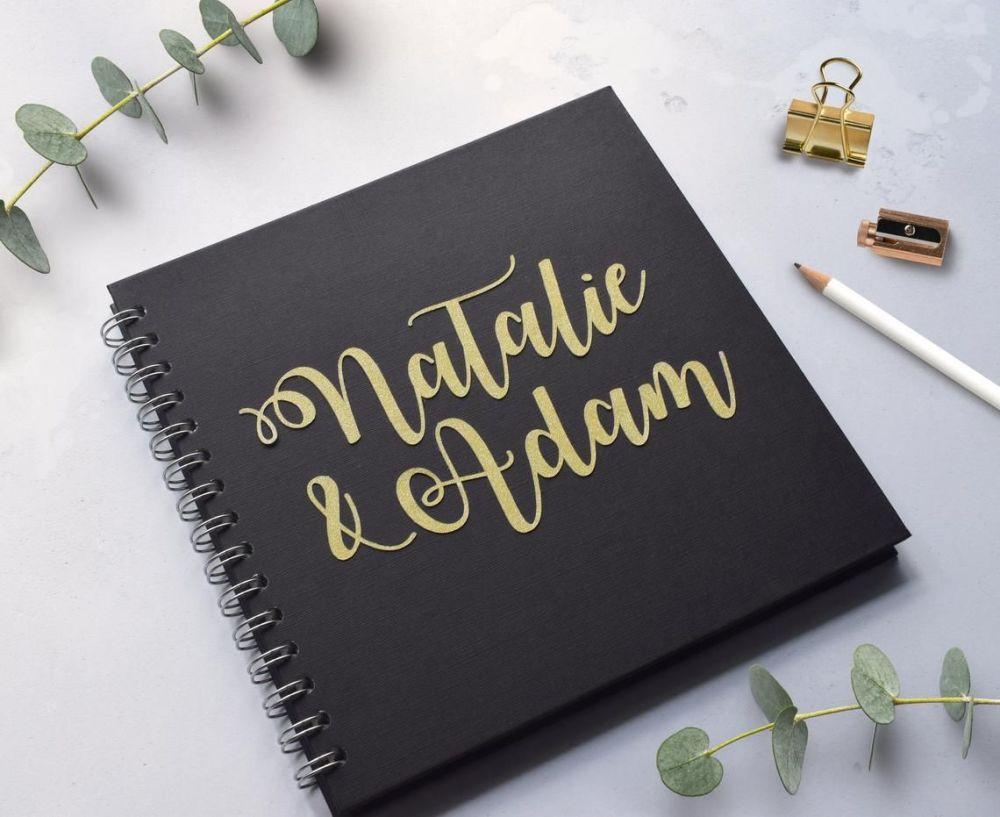 Gold Glitter Script Wedding Guest Book