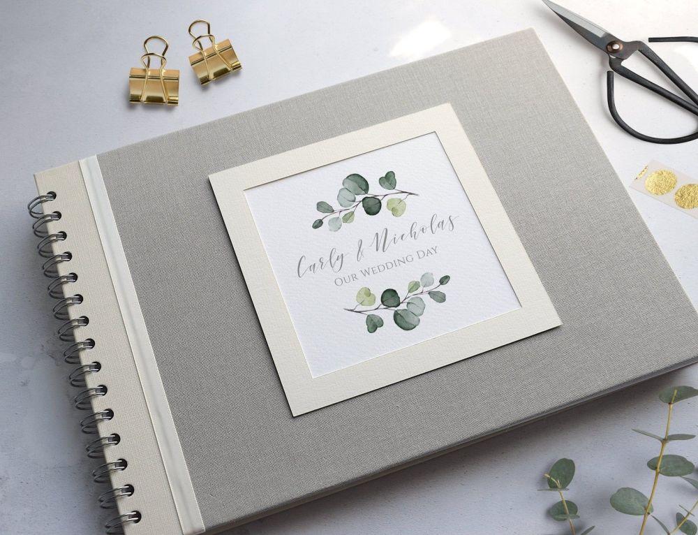 Eucalyptus Leaf Grey Wedding Photo Album