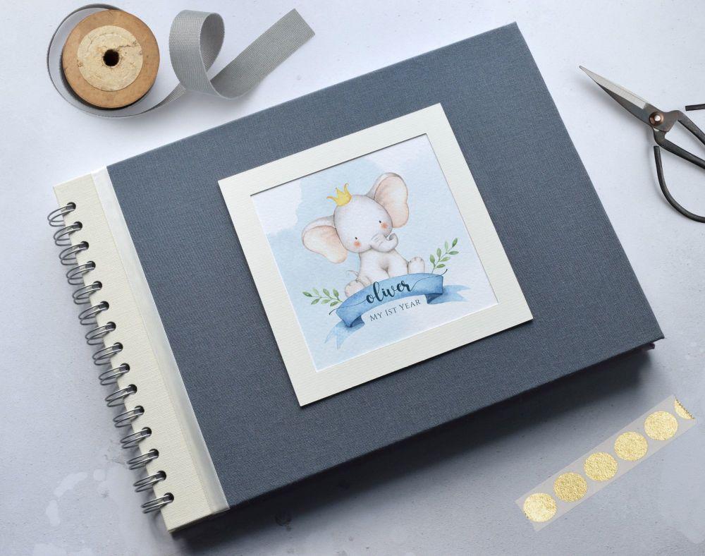 Elephant Baby Photo Album - Blue Cover
