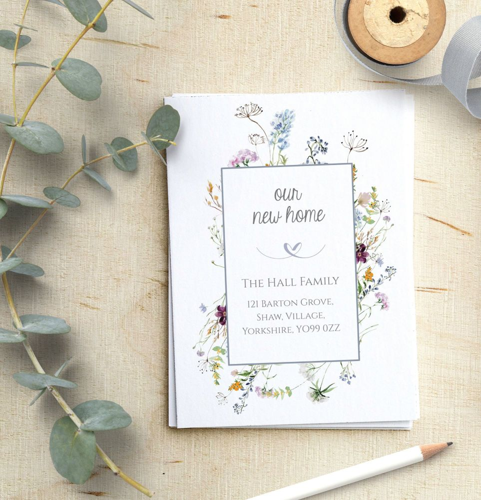 Wild Flower Frame New Address Cards