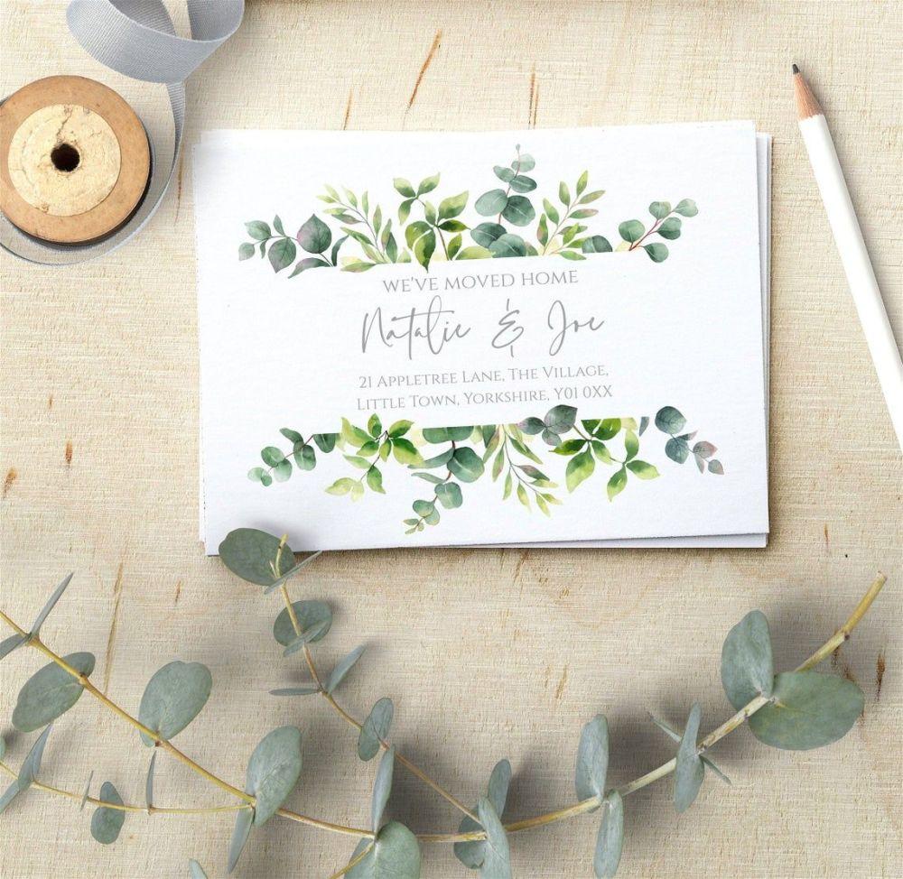 Botanical Greenery New Address Cards