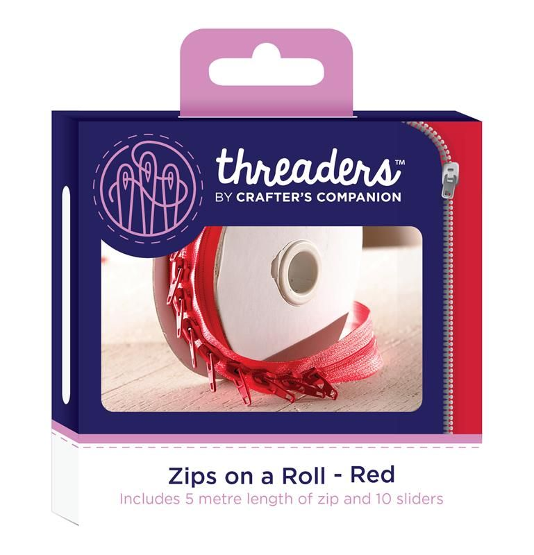 Threaders zip on a roll - Red 5mtr 10 sliders