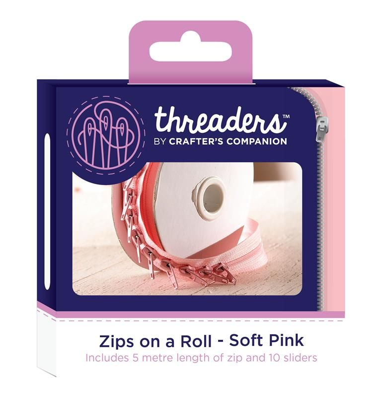 Threaders zip on a roll 5 mtr 10 sliders - soft pink