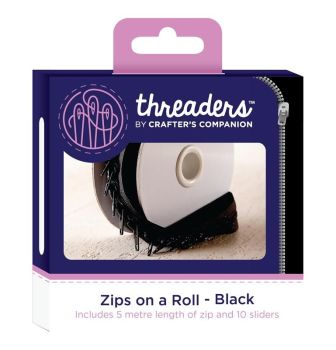 Threaders zip on a roll 5 mtr 10 sliders - black