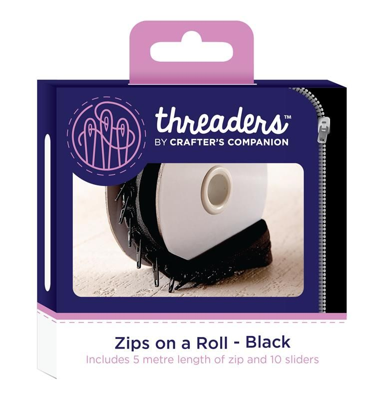 Threaders zip on a roll 5 mtr 10 sliders - black