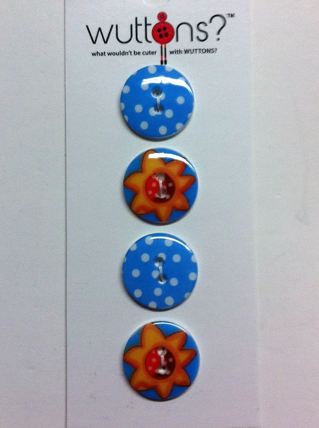 wuttons set of four jazzy buttons 3/4
