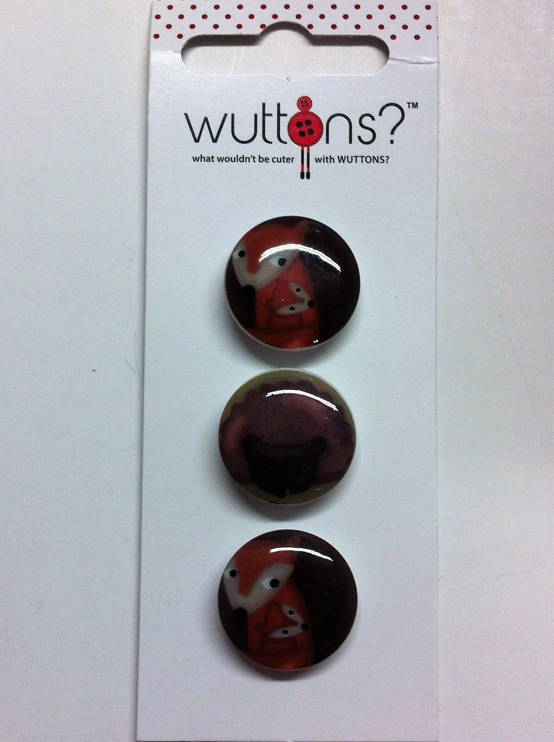 wuttons set of four fox buttons 3/4