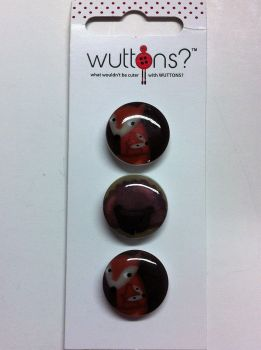 "wuttons set of three fox buttons 3/4"" 19mm 5753"
