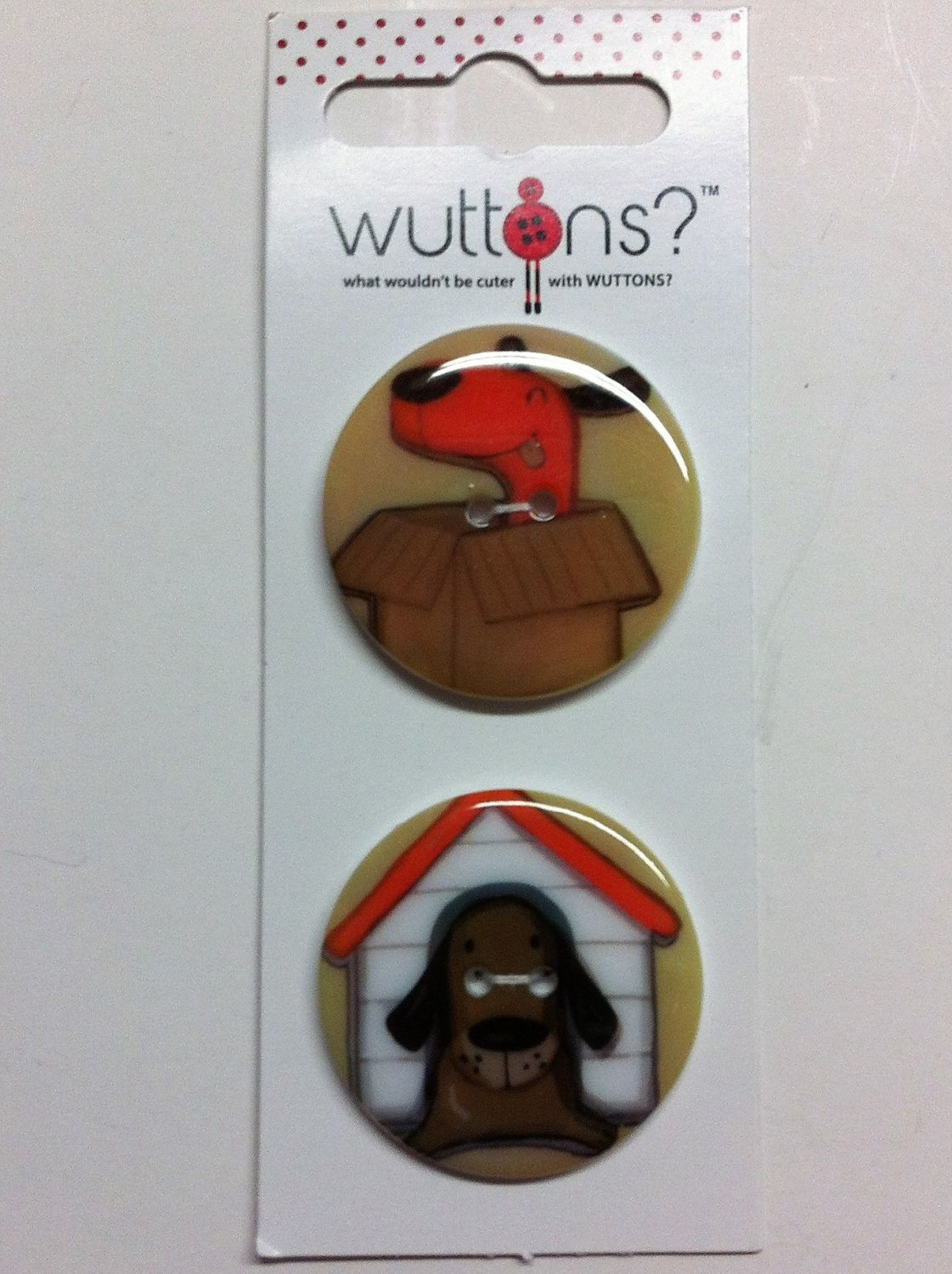 wuttons set of two doggy buttons 1 3/4