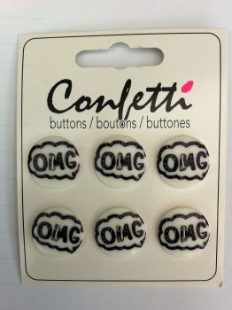 "Confetti 3/4"" OMG set of 6 buttons"