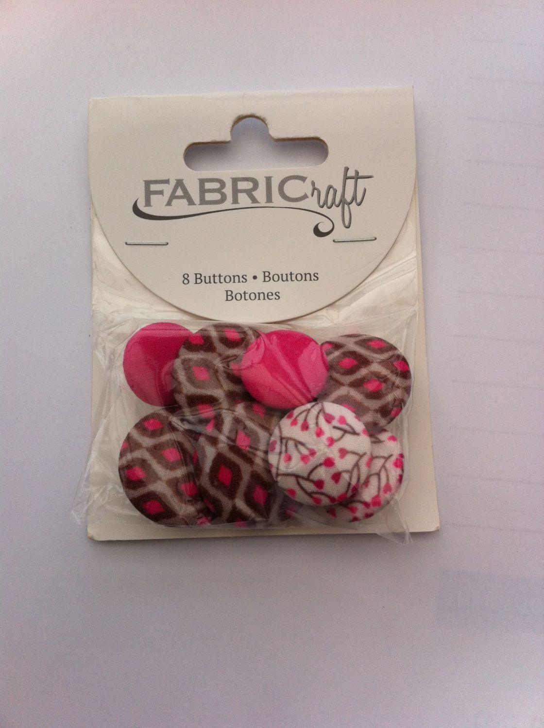 Fabric craft set 8 buttons ref fb92
