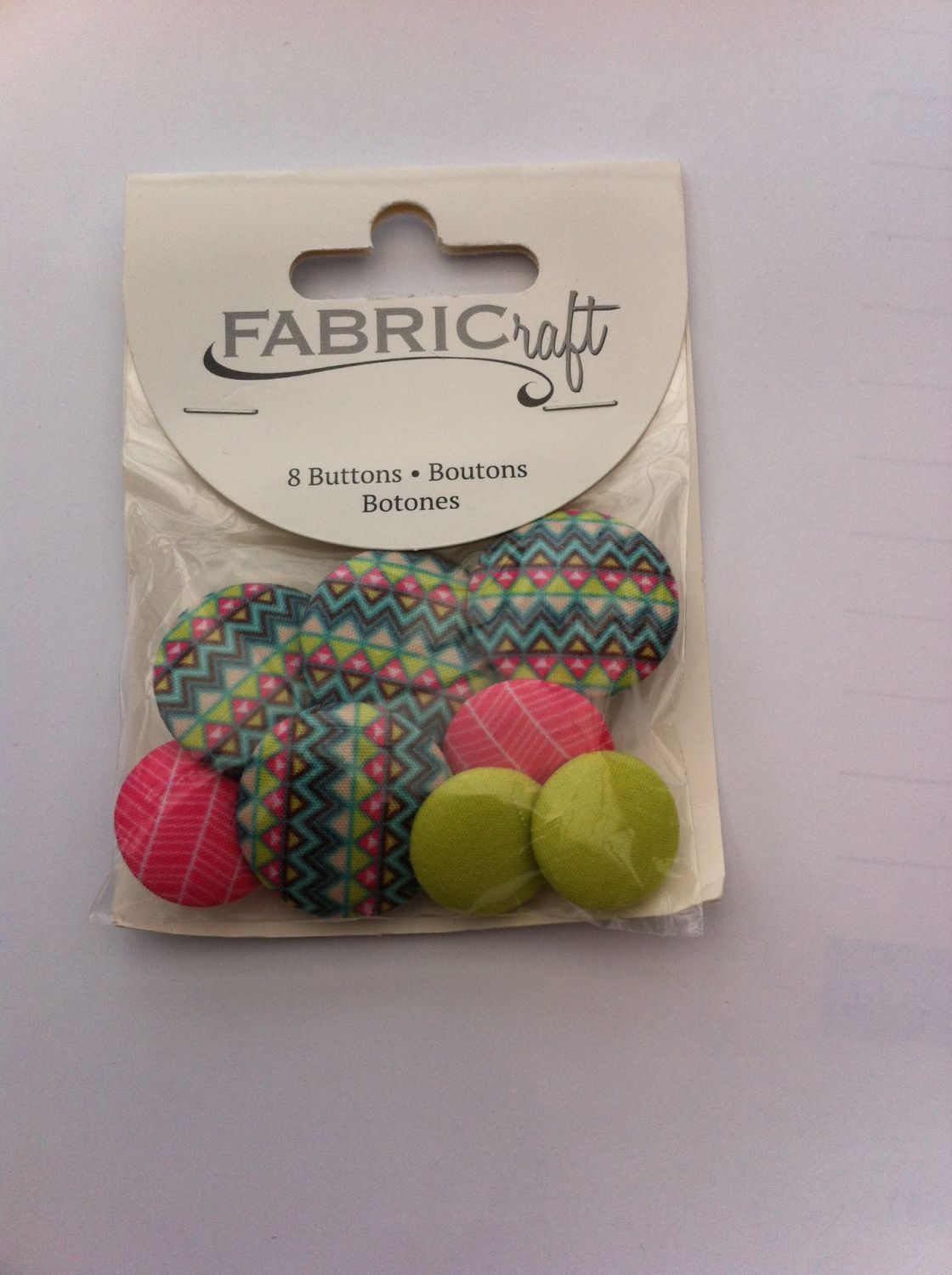 Fabric craft set 8 buttons ref fb14