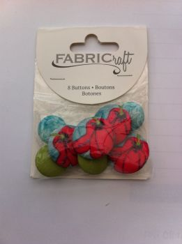Fabric craft set 8 buttons ref fb85