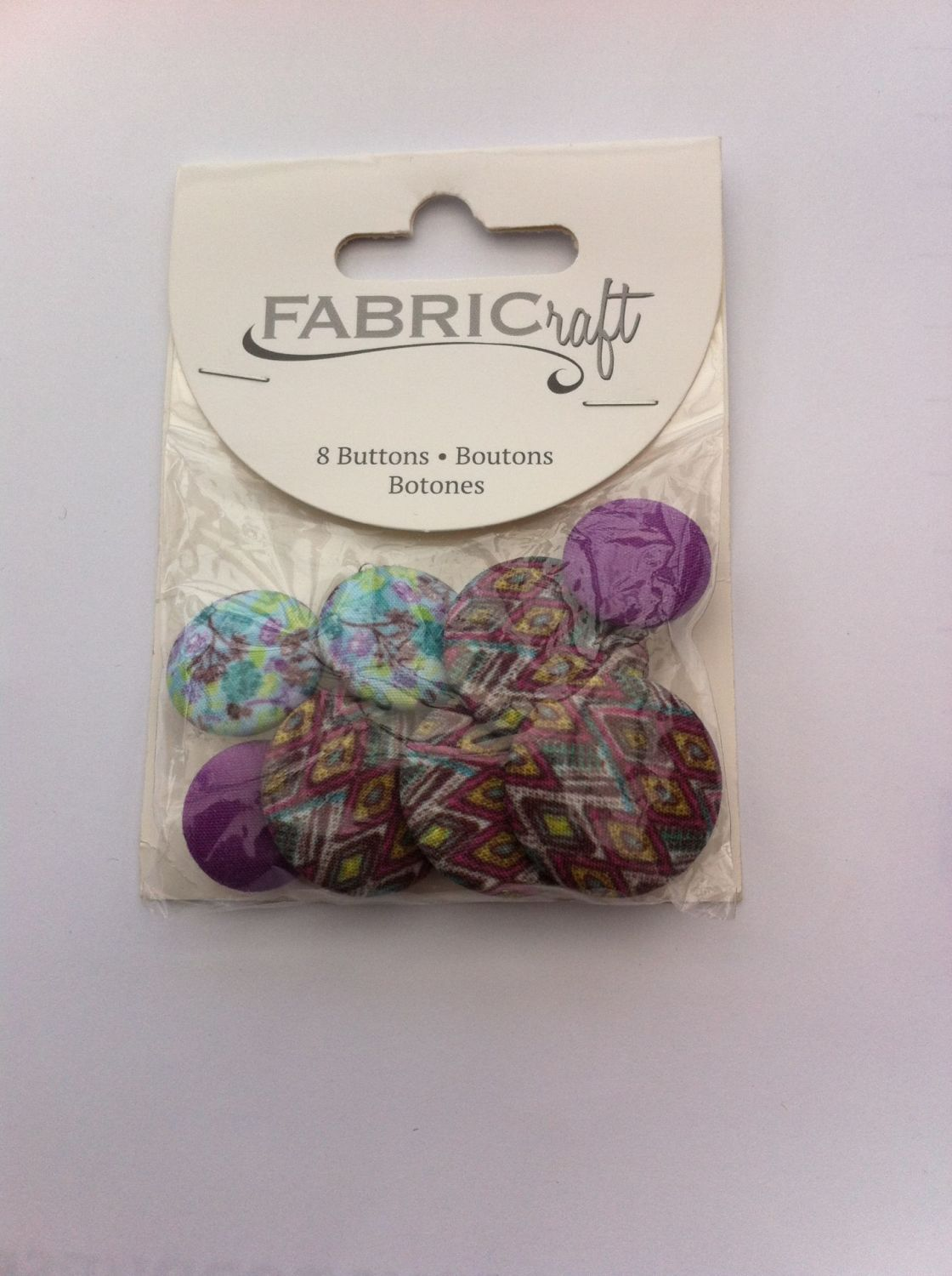 Fabric craft set 8 buttons ref fb46