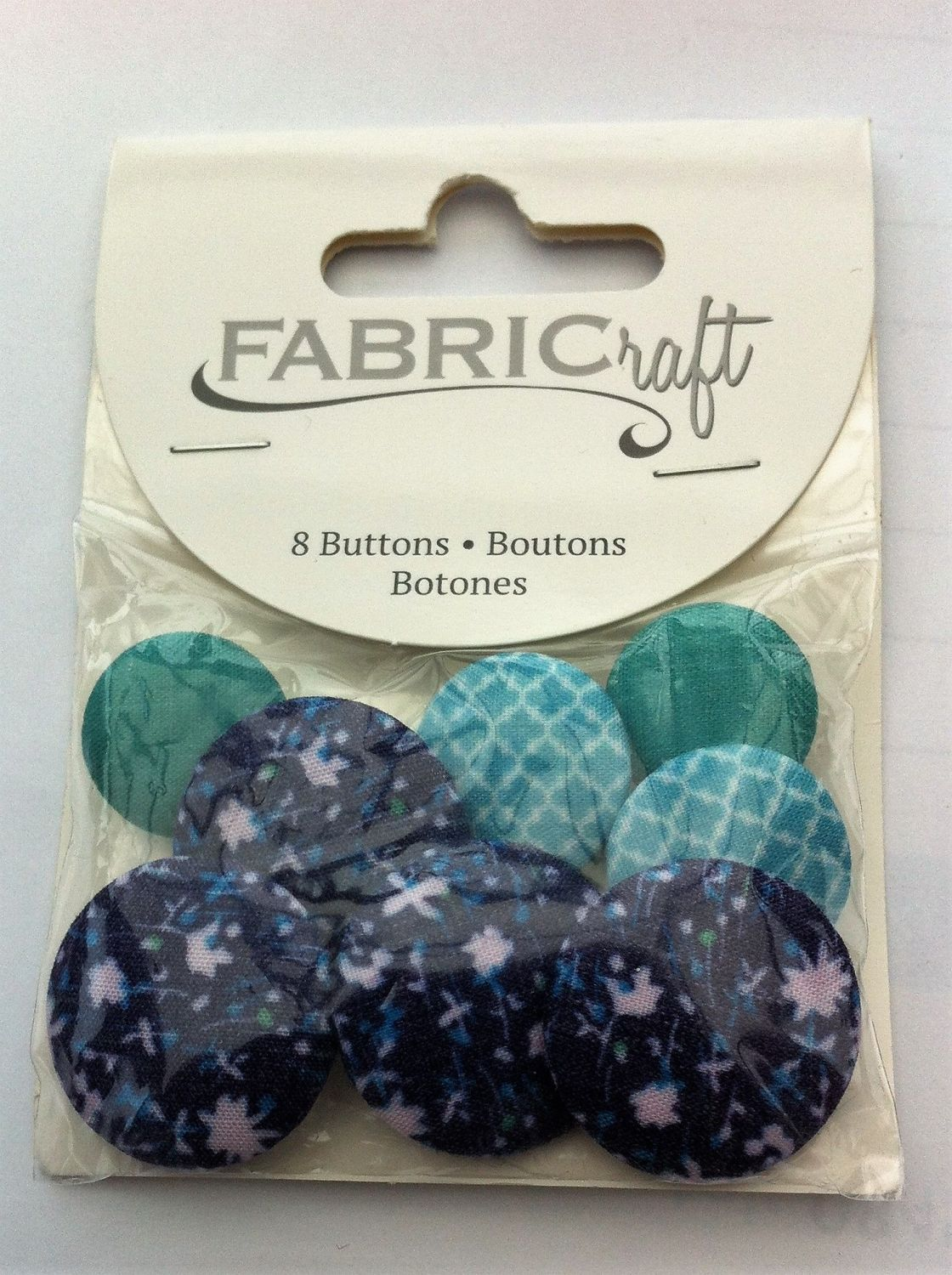 Fabric craft set 8 buttons ref fb22