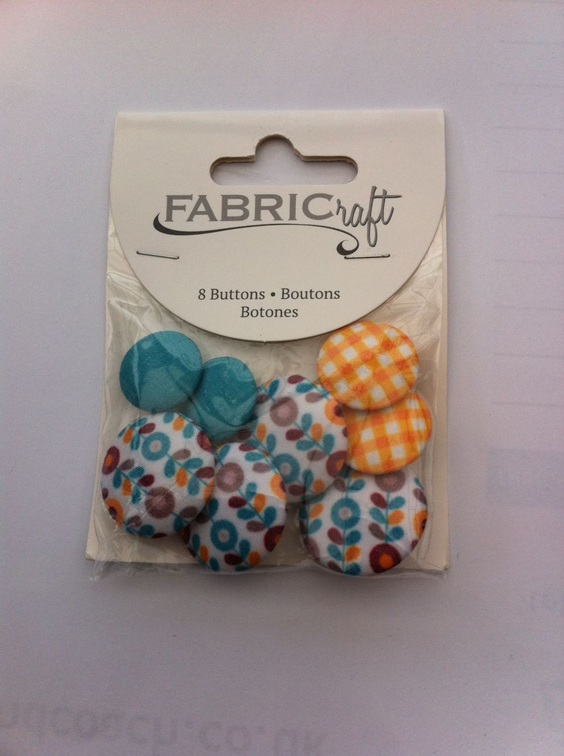 Fabric craft set 8 buttons ref fb07