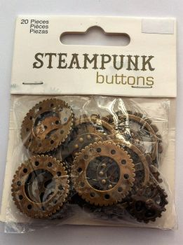 "steampunk buttons 1 1/4"" 32mm bronze colour cogs"