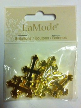 "La Mode 1"" buttons x 8 crosses gold colour 1794"