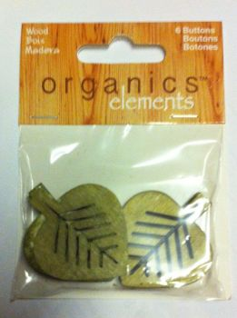 "Organics elements coconut 1 1/2"" - 38mm 6 x leaf buttons 1803"