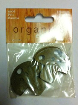 "Organics elements coconut 1 1/2"" - 38mm 6 x mushroom buttons 1802"
