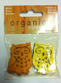 "Organics elements coconut 1 1/2"" - 38mm 6 x owl buttons 1800"