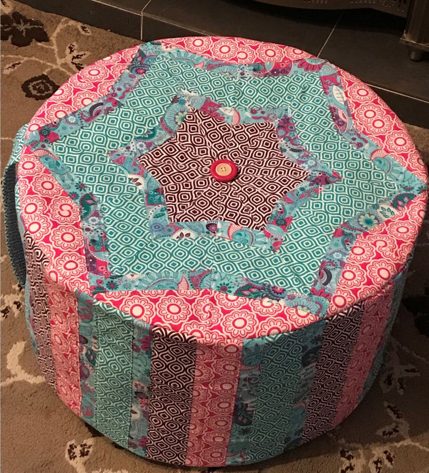 Debby's Patch quilted pouffe poof