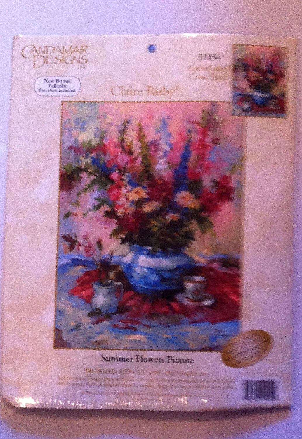 embroidery kit summer flowers picture ref kit 1048