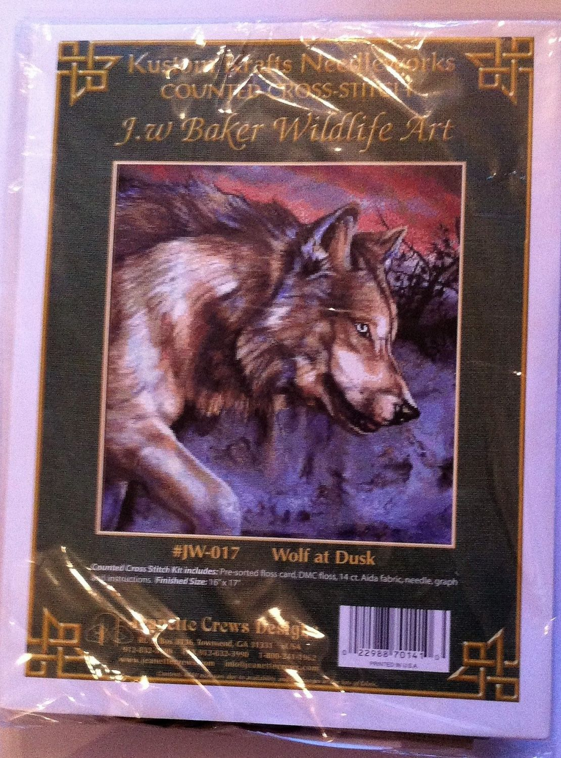 embroidery kit wolf at dusk ref kit 1046