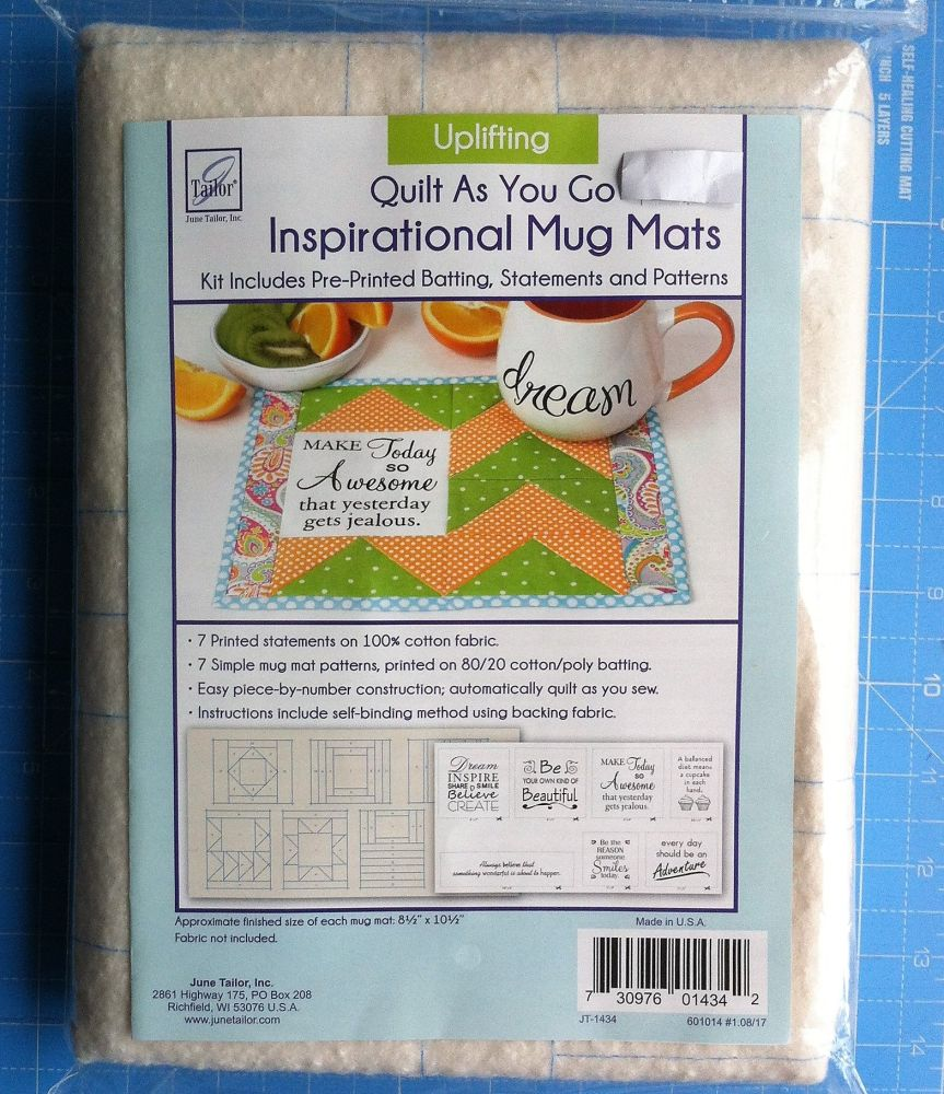 Quilt as you go inspirational mug mats