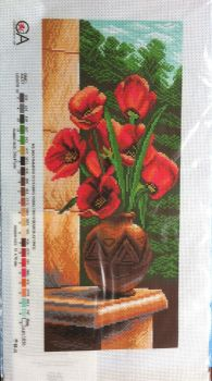 kit 1072 CDA collection D'art enbroidery poppies in vase