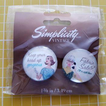"Simplicity vintage 1 3/8"" (3.49cm) badges set of two"