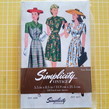 """Simplicity vintage note book 5 1/2"""" x 8 1/2""""  (13.9cm x 21.5cm)"""