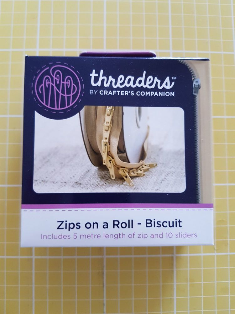 Threaders zip on a roll - 5mtr 10 sliders biscuit