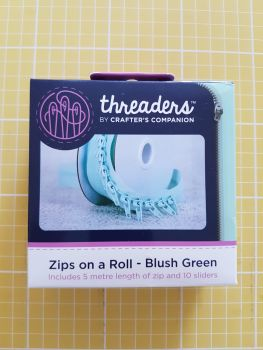 Threaders zip on a roll - 5mtr 10 sliders blush green