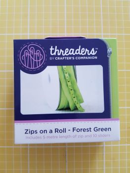 Threaders zip on a roll - 5mtr 10 sliders forest green