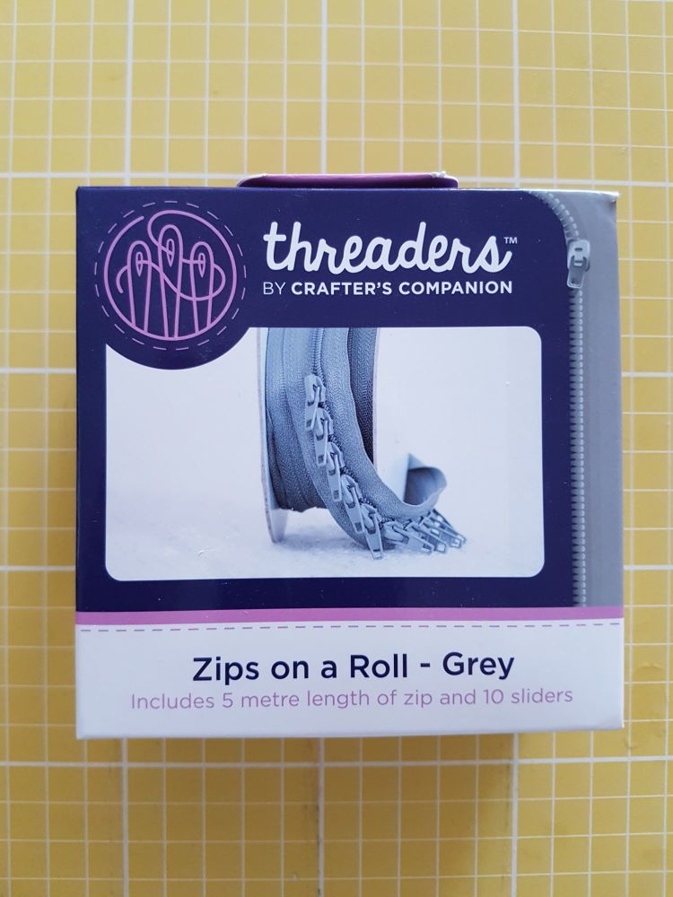 Threaders zip on a roll - 5mtr 10 sliders grey