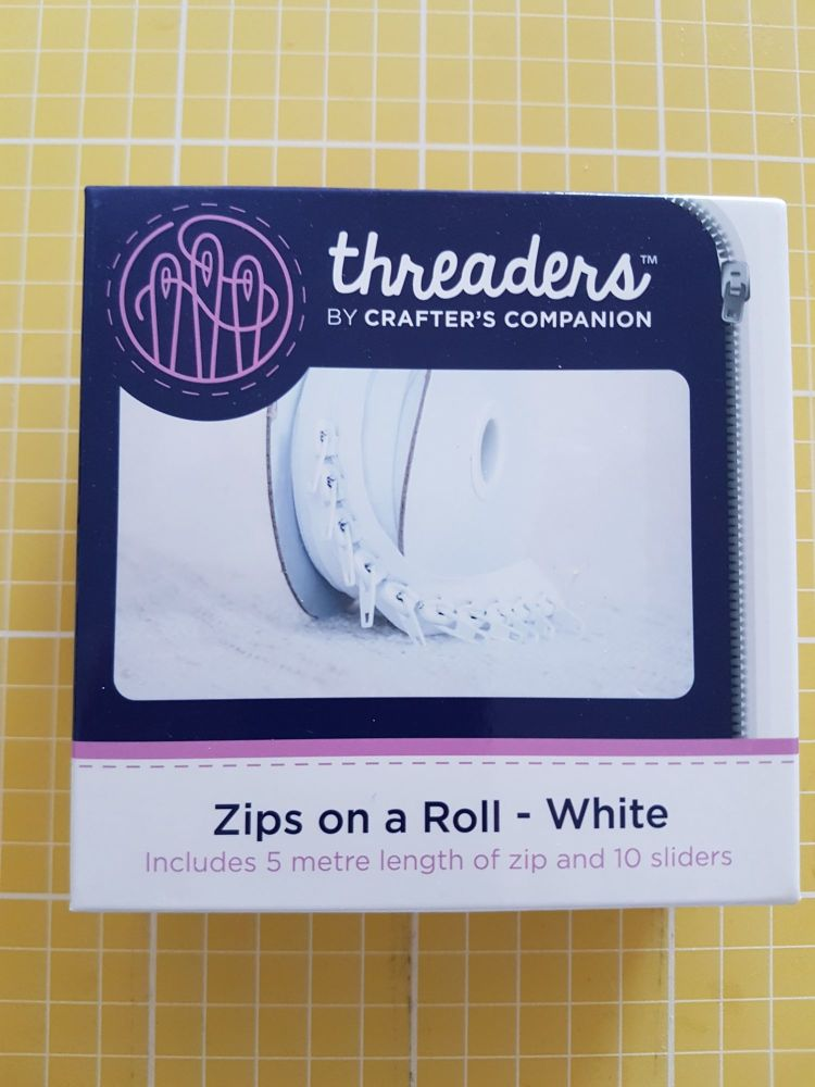 Threaders zip on a roll - 5mtr 10 sliders white