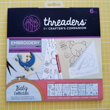 "Embroidery transfer sheets 6pk 8"" x 8"" baby"