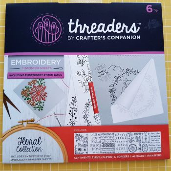 "Embroidery transfer sheets 6pk 8"" x 8"" floral"