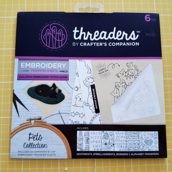 "Embroidery transfer sheets 6pk 8"" x 8"" pets"