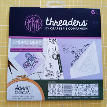 "Embroidery transfer sheets 6pk 8"" x 8"" sewing"