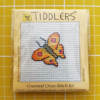 Mouseloft tiddlers cross stitch embroidery butterfly