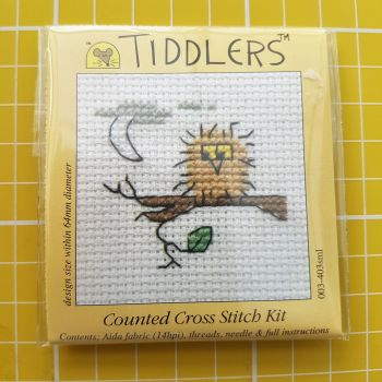 Mouseloft tiddlers cross stitch embroidery bird on branch