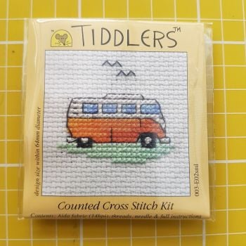 Mouseloft tiddlers cross stitch embroidery camper van