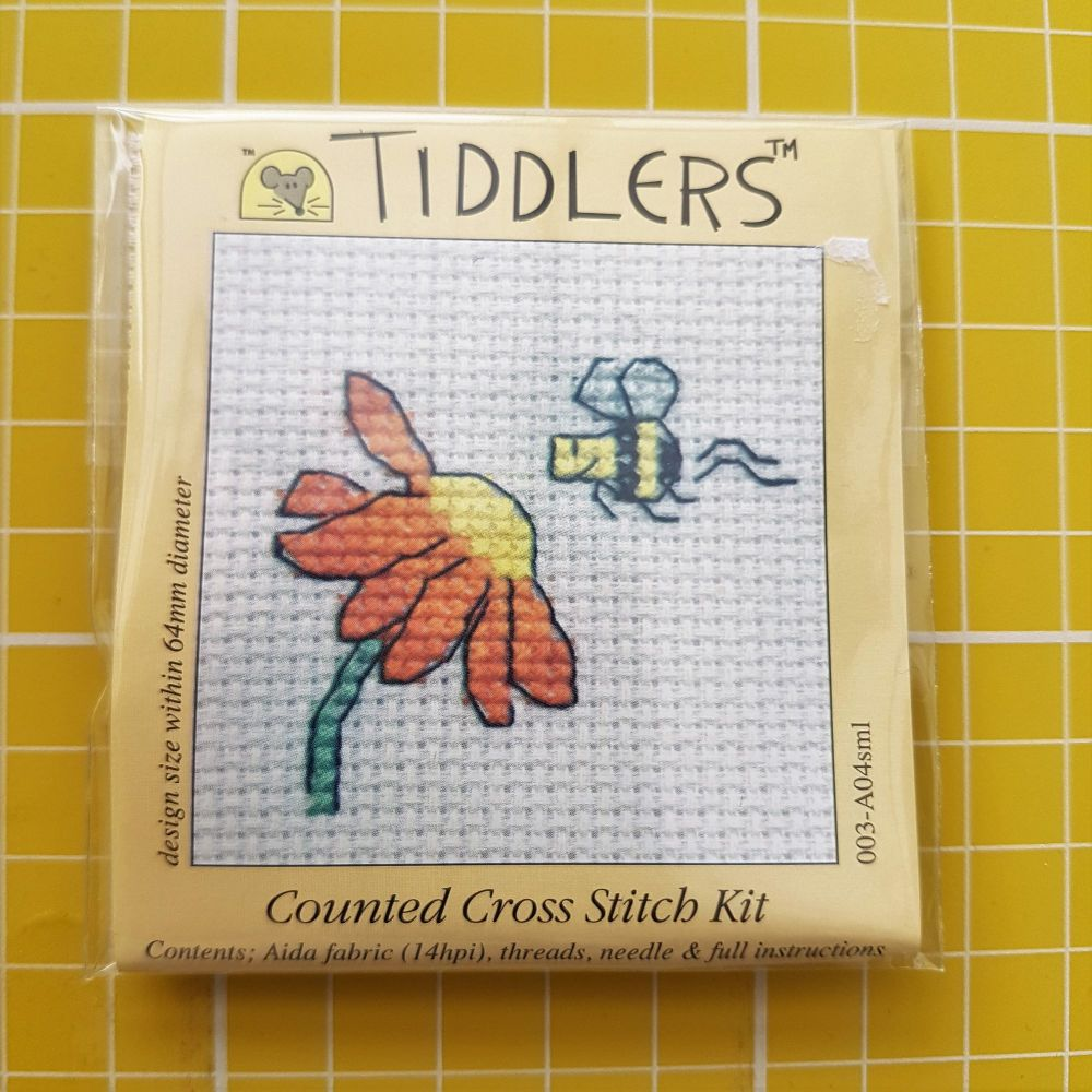 Mouseloft tiddlers cross stitch embroidery flower bee
